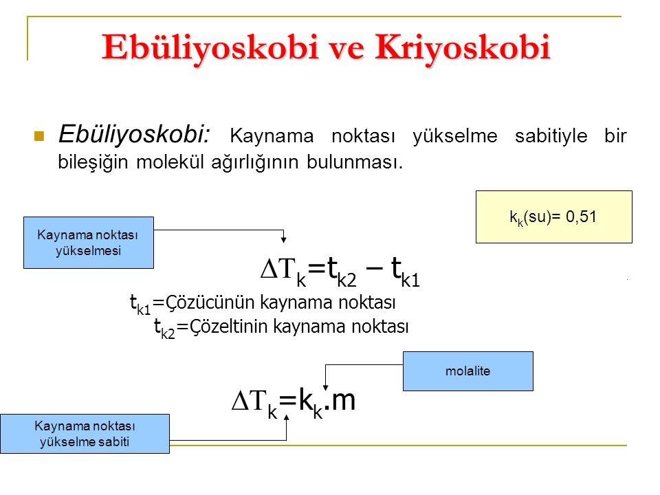 Ebüliyoskobi ve Kriyoskobi Ebüliyoskobi: Kaynama noktası yükselme sabitiyle bir bileşiğin molekül ağırlığının bulunması.    k =t