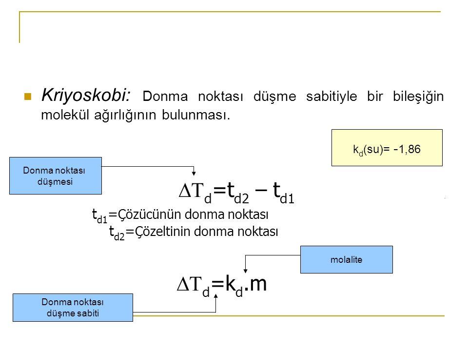 Kriyoskobi: Donma noktası düşme sabitiyle bir bileşiğin molekül ağırlığının bulunması.    d =t d2 – t d1 t d1 = Çözücünün donma