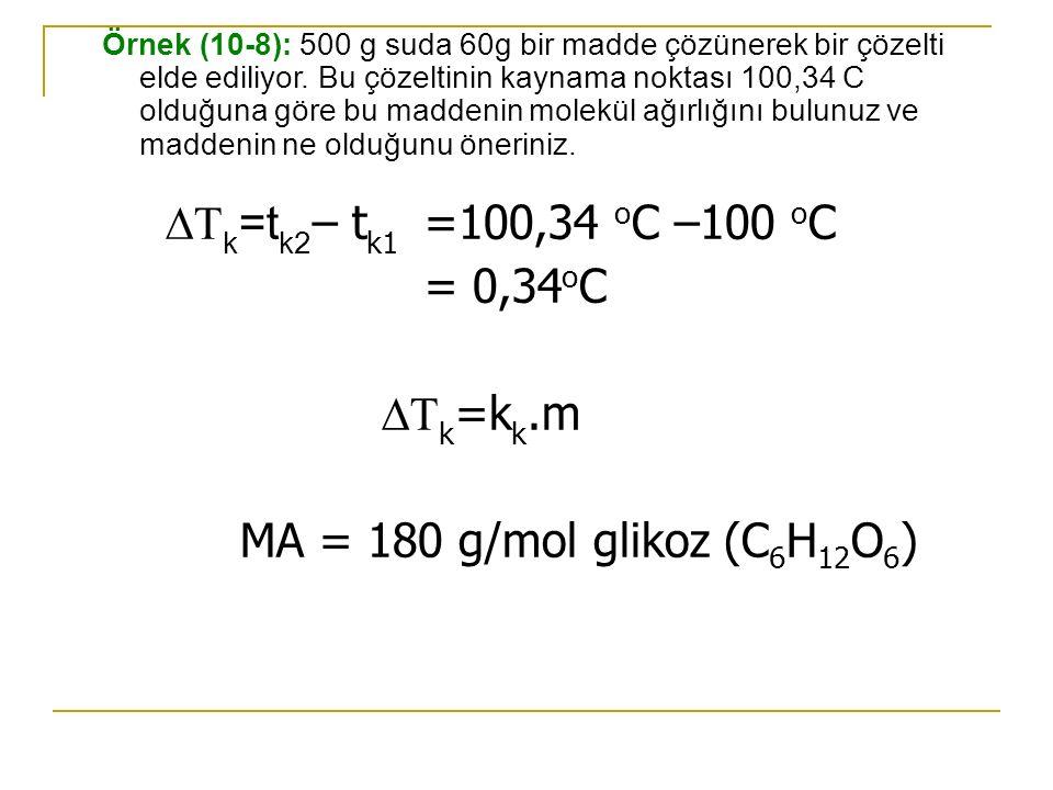 Örnek (10-8): 500 g suda 60g bir madde çözünerek bir çözelti elde ediliyor. Bu çözeltinin kaynama noktası 100,34 C olduğuna göre bu maddenin molekül a