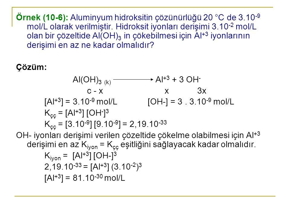 Örnek (10-6): Aluminyum hidroksitin çözünürlüğü 20 °C de 3.10 -9 mol/L olarak verilmiştir. Hidroksit iyonları derişimi 3.10 -2 mol/L olan bir çözeltid