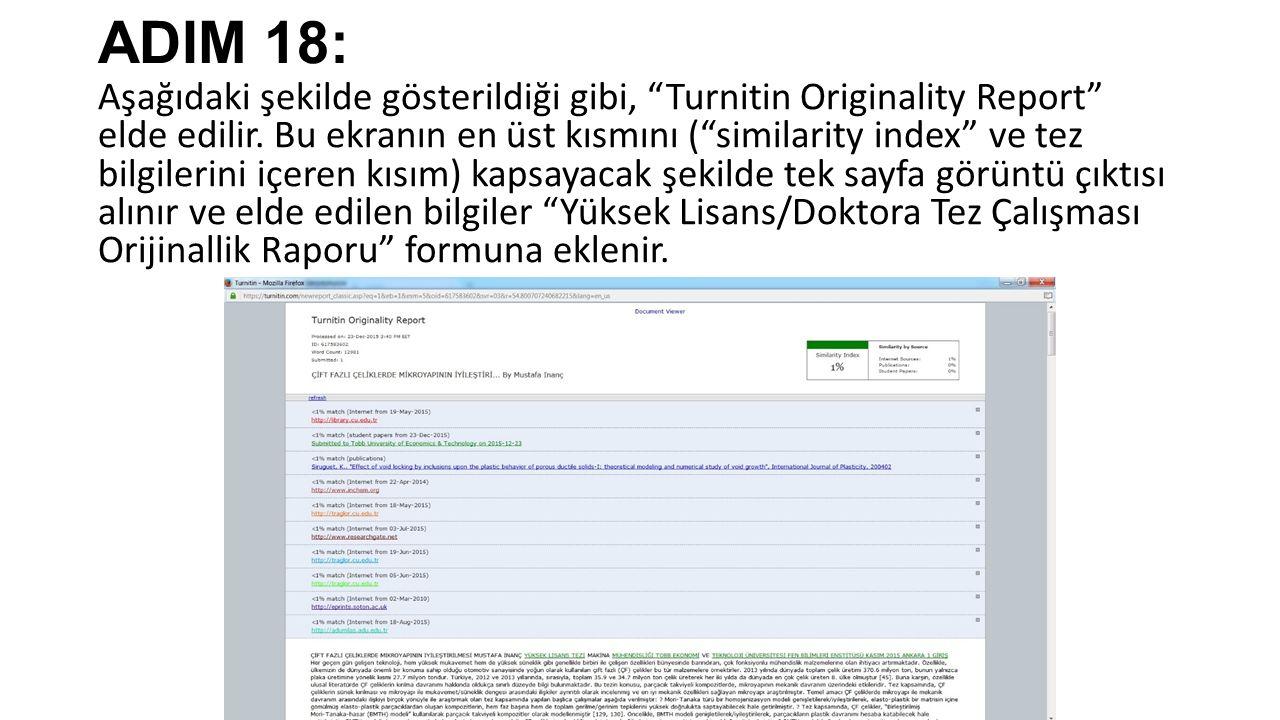 ADIM 18: Aşağıdaki şekilde gösterildiği gibi, Turnitin Originality Report elde edilir.