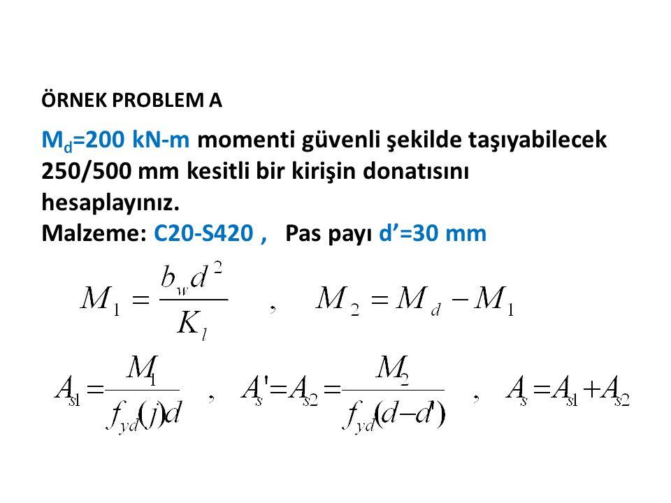 ÖRNEK PROBLEM A M d =200 kN-m momenti güvenli şekilde taşıyabilecek 250/500 mm kesitli bir kirişin donatısını hesaplayınız. Malzeme: C20-S420, Pas pay