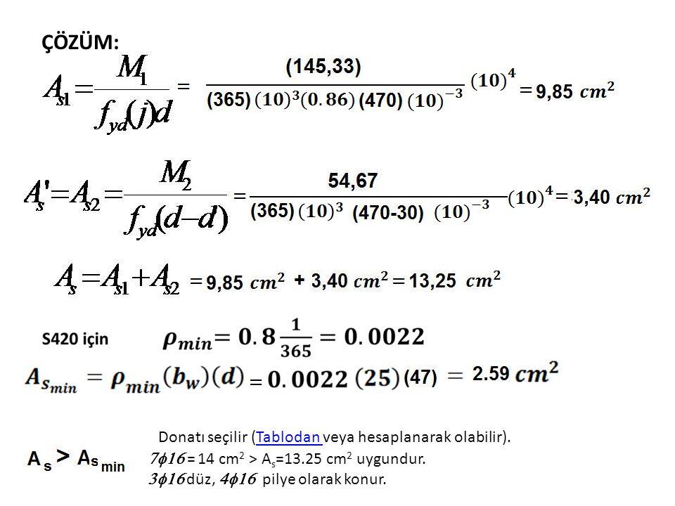 Donatı seçilir (Tablodan veya hesaplanarak olabilir).Tablodan  = 14 cm 2 > A s =13.25 cm 2 uygundur.  düz,  pilye olarak konur.