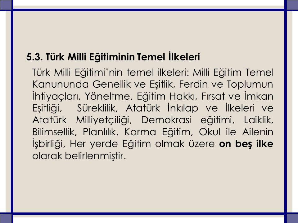 5.3. Türk Milli Eğitiminin Temel İlkeleri Türk Milli Eğitimi'nin temel ilkeleri: Milli Eğitim Temel Kanununda Genellik ve Eşitlik, Ferdin ve Toplumun
