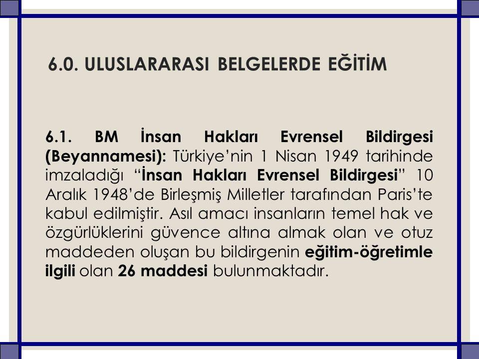 """6.0. ULUSLARARASI BELGELERDE EĞİTİM 6.1. BM İnsan Hakları Evrensel Bildirgesi (Beyannamesi): Türkiye'nin 1 Nisan 1949 tarihinde imzaladığı """" İnsan Hak"""