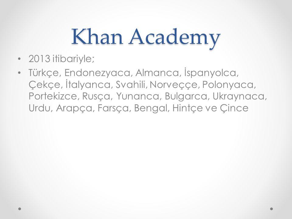Khan Academy 2013 itibariyle; Türkçe, Endonezyaca, Almanca, İspanyolca, Çekçe, İtalyanca, Svahili, Norveççe, Polonyaca, Portekizce, Rusça, Yunanca, Bulgarca, Ukraynaca, Urdu, Arapça, Farsça, Bengal, Hintçe ve Çince