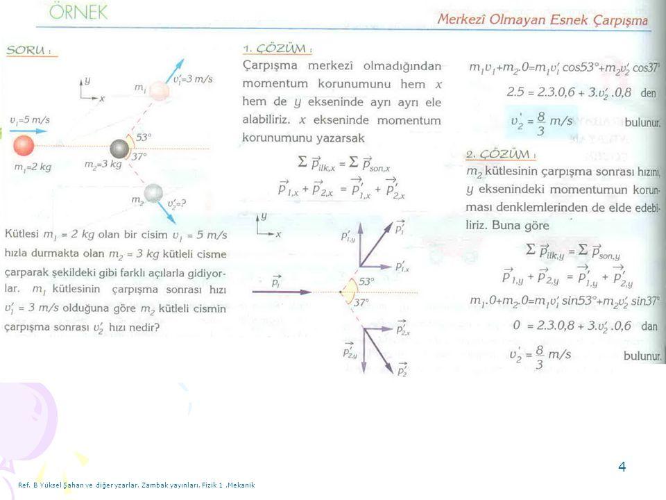 15 9) Cevap: Ref. B Yüksel Şahan ve diğer yzarlar, Zambak yayınları, Fizik 1,Mekanik