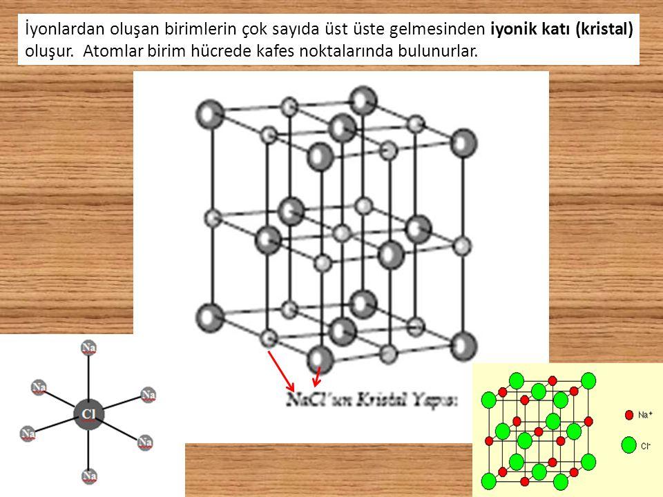 15 İyonlardan oluşan birimlerin çok sayıda üst üste gelmesinden iyonik katı (kristal) oluşur. Atomlar birim hücrede kafes noktalarında bulunurlar.