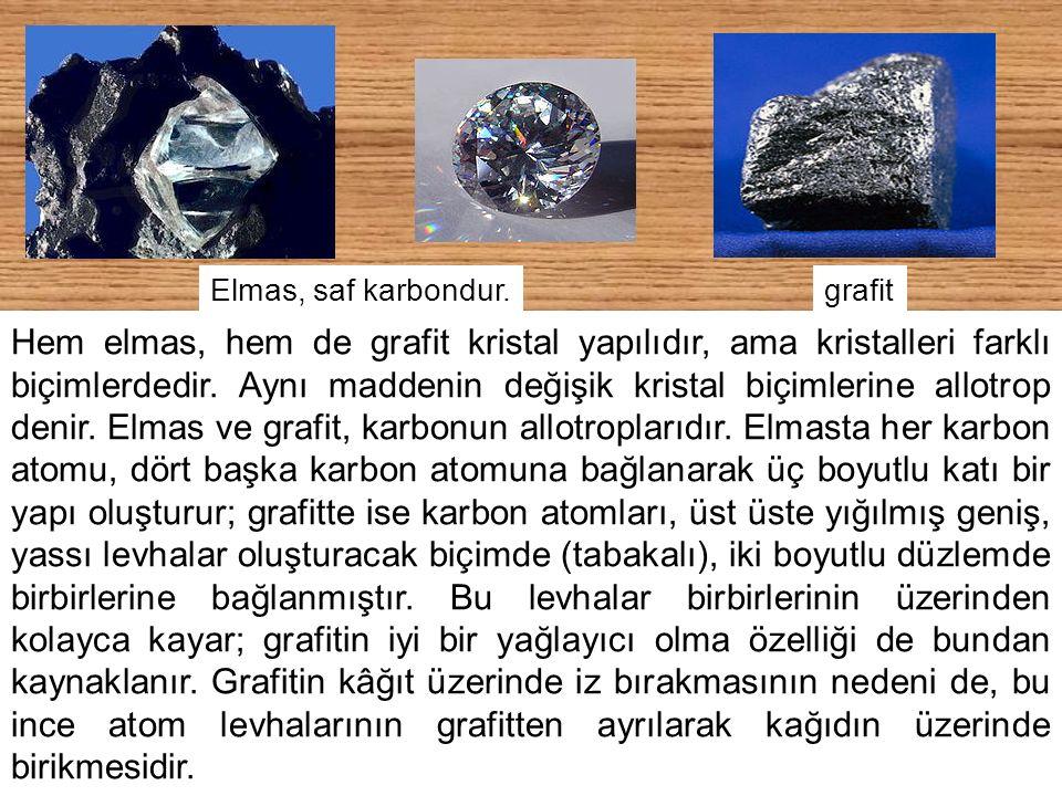 22 Elmas, saf karbondur. Hem elmas, hem de grafit kristal yapılıdır, ama kristalleri farklı biçimlerdedir. Aynı maddenin değişik kristal biçimlerine a