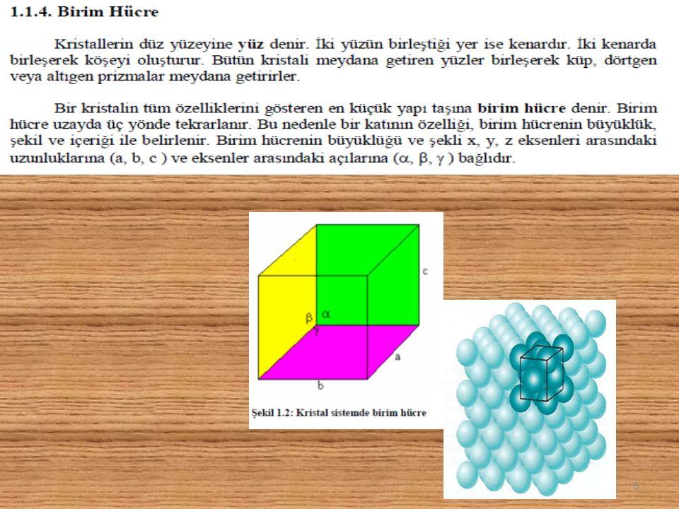 Birim hücrenin kenarı : a Birim hücrenin hacmi V = a 3 Metalin Teorik Yoğunluğu,  Mol ağırlığı (MA) Birim hücrede tanecik sayısı (n) Avagadro sayısı (N= 6,02x10 23 )