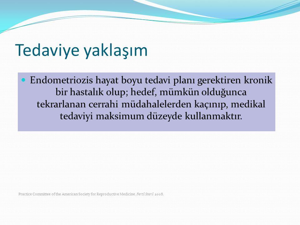 Tedaviye yaklaşım Endometriozis hayat boyu tedavi planı gerektiren kronik bir hastalık olup; hedef, mümkün olduğunca tekrarlanan cerrahi müdahalelerde