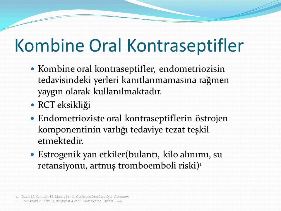 Kombine Oral Kontraseptifler Kombine oral kontraseptifler, endometriozisin tedavisindeki yerleri kanıtlanmamasına rağmen yaygın olarak kullanılmaktadı