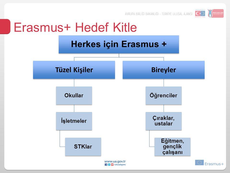 Erasmus+ Hedef Kitle Herkes için Erasmus + Tüzel Kişiler Okullar İşletmeler STKlar Bireyler Öğrenciler Çıraklar, ustalar Eğitmen, gençlik çalışanı