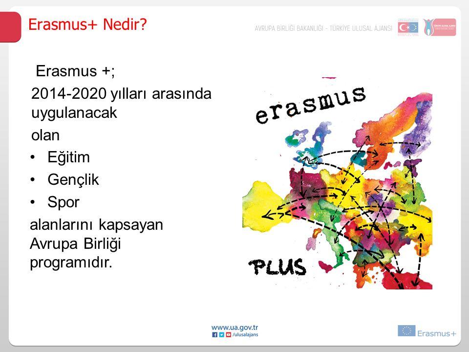 Eğitim Gençlik Spor alanlarını kapsayan Avrupa Birliği programıdır. Erasmus+ Nedir? Erasmus +; 2014-2020 yılları arasında uygulanacak olan