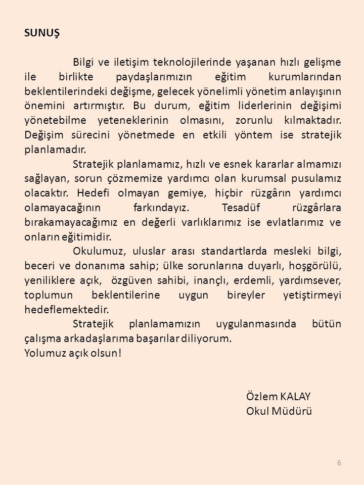 7 GİRİŞ Okulumuz Ankara Bölgesinde 4.Kız Anadolu İmam-Hatip Lisesi olarak 2015-2016 Eğitim-Öğretim Yılında 651 Kız Öğrenci,52 Kadrolu ve Ücretli Öğretmen ile Geçici Binasında Ders yılına Başlamış ve Önümüzdeki Yılda da Kendi Binasında Faaliyetini Sürdürecektir.