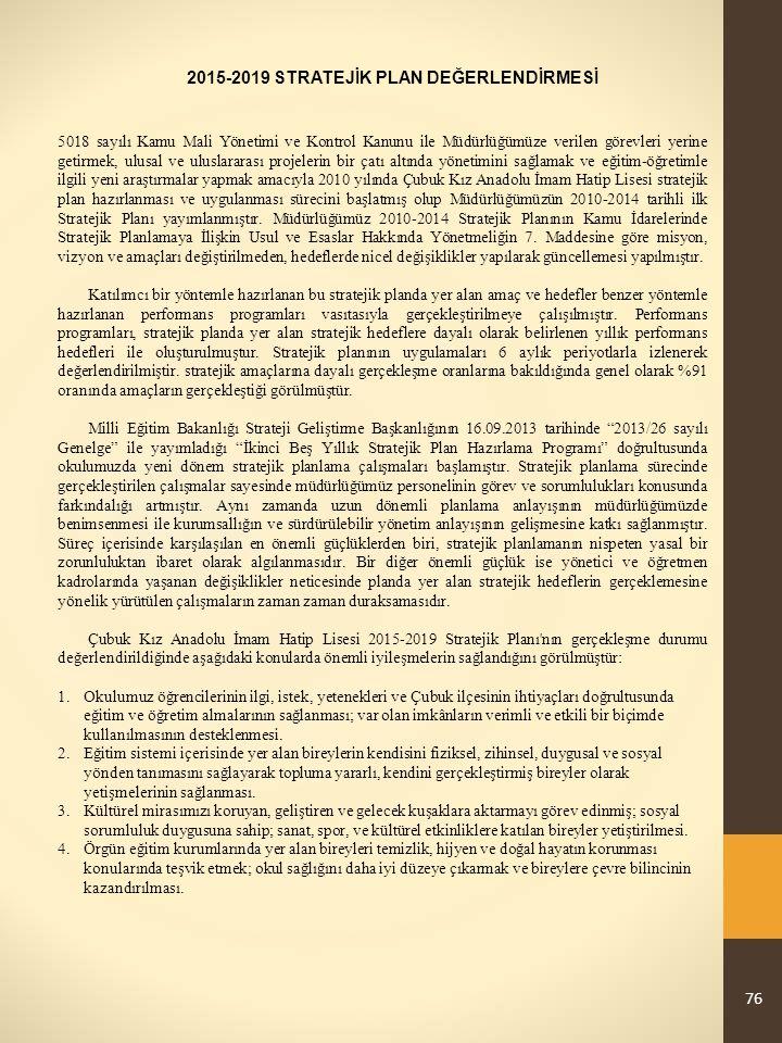 76 2015-2019 STRATEJİK PLAN DEĞERLENDİRMESİ 5018 sayılı Kamu Mali Yönetimi ve Kontrol Kanunu ile Müdürlüğümüze verilen görevleri yerine getirmek, ulusal ve uluslararası projelerin bir çatı altında yönetimini sağlamak ve eğitim-öğretimle ilgili yeni araştırmalar yapmak amacıyla 2010 yılında Çubuk Kız Anadolu İmam Hatip Lisesi stratejik plan hazırlanması ve uygulanması sürecini başlatmış olup Müdürlüğümüzün 2010-2014 tarihli ilk Stratejik Planı yayımlanmıştır.