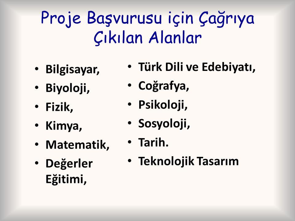 Proje Başvurusu için Çağrıya Çıkılan Alanlar Bilgisayar, Biyoloji, Fizik, Kimya, Matematik, Değerler Eğitimi, Türk Dili ve Edebiyatı, Coğrafya, Psikol