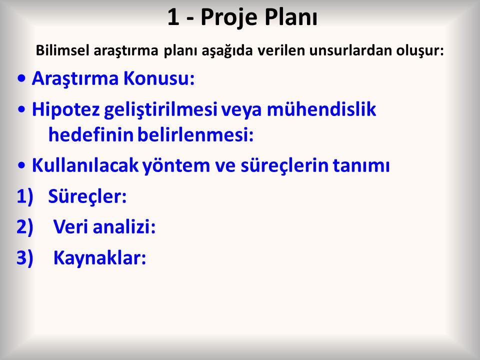 1 - Proje Planı Bilimsel araştırma planı aşağıda verilen unsurlardan oluşur: Araştırma Konusu: Hipotez geliştirilmesi veya mühendislik hedefinin belir