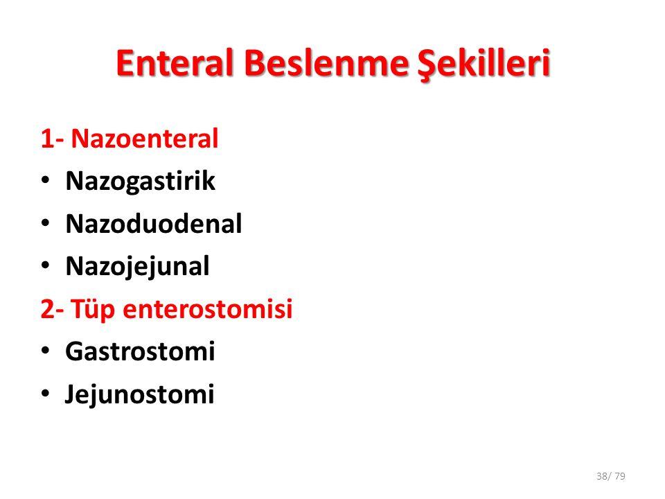 Enteral Beslenme Şekilleri 1- Nazoenteral Nazogastirik Nazoduodenal Nazojejunal 2- Tüp enterostomisi Gastrostomi Jejunostomi 38/ 79