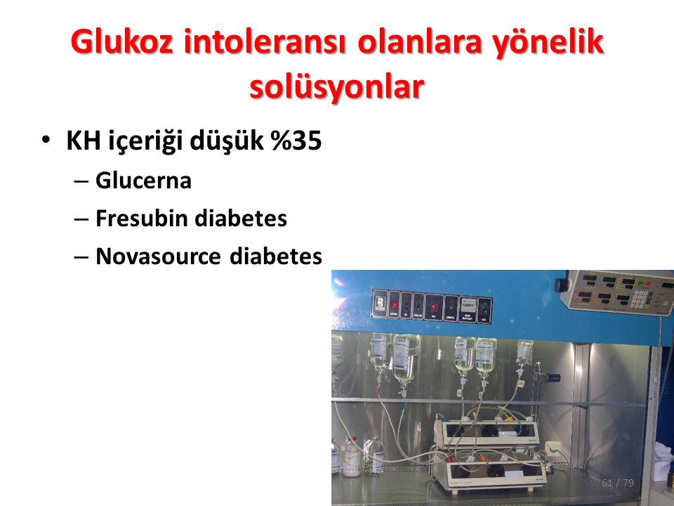 Glukoz intoleransı olanlara yönelik solüsyonlar KH içeriği düşük %35 – Glucerna – Fresubin diabetes – Novasource diabetes 61 / 79