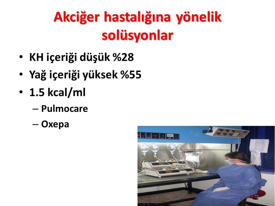 Akciğer hastalığına yönelik solüsyonlar KH içeriği düşük %28 Yağ içeriği yüksek %55 1.5 kcal/ml – Pulmocare – Oxepa 62 / 79