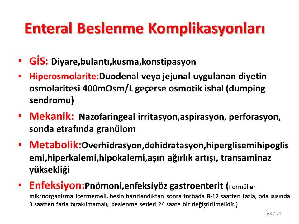 Enteral Beslenme Komplikasyonları GİS: Diyare,bulantı,kusma,konstipasyon Hiperosmolarite:Duodenal veya jejunal uygulanan diyetin osmolaritesi 400mOsm/