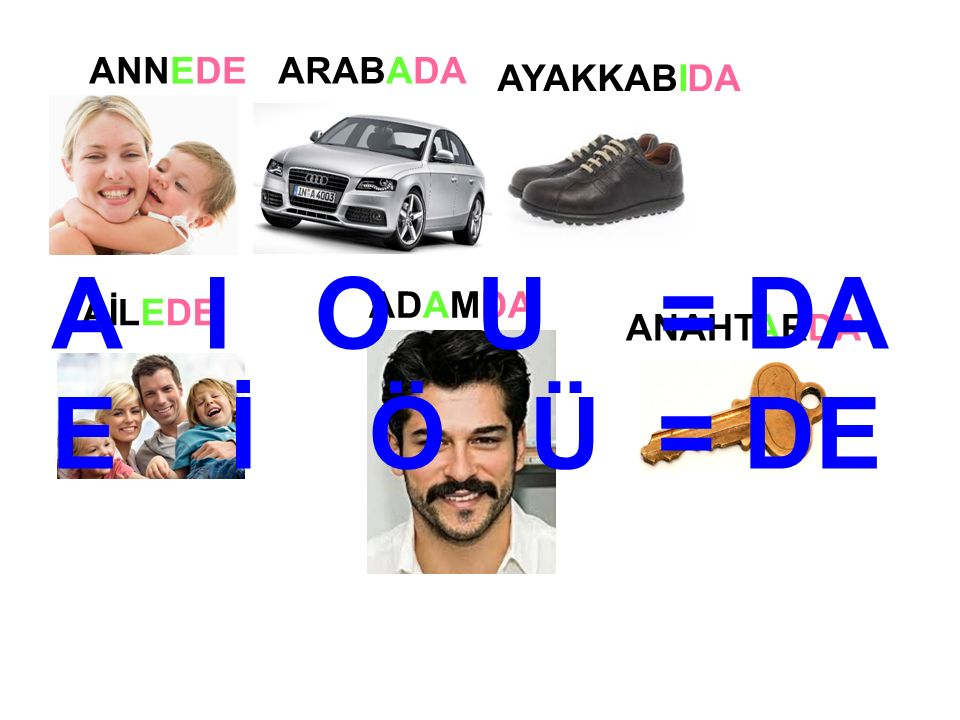 ÇAYÇAY ÇANÇAN ÇATAL ÇADIR ÇANTADA A I O U = DA E İ Ö Ü = DE