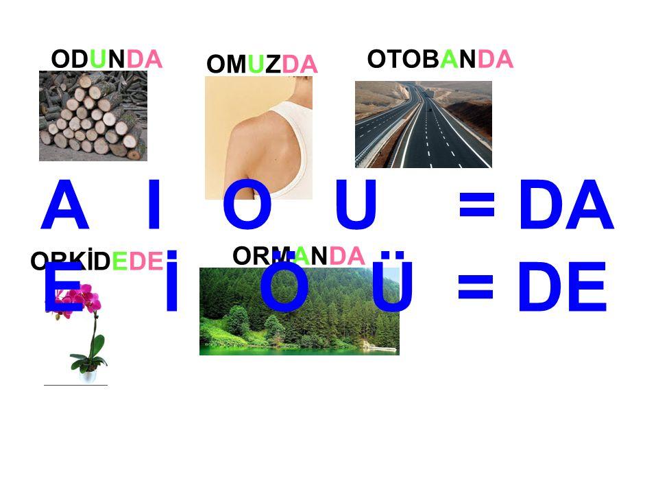 ODUNDA OMUZDA OTOBANDA ORKİDEDE ORMANDA A I O U = DA E İ Ö Ü = DE