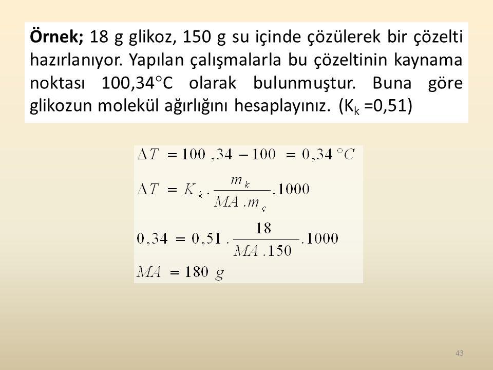Örnek; 18 g glikoz, 150 g su içinde çözülerek bir çözelti hazırlanıyor.