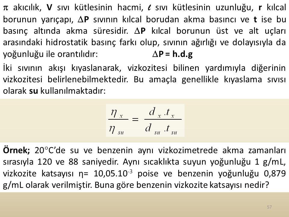 57  akıcılık, V sıvı kütlesinin hacmi, l sıvı kütlesinin uzunluğu, r kılcal borunun yarıçapı,  P sıvının kılcal borudan akma basıncı ve t ise bu basınç altında akma süresidir.