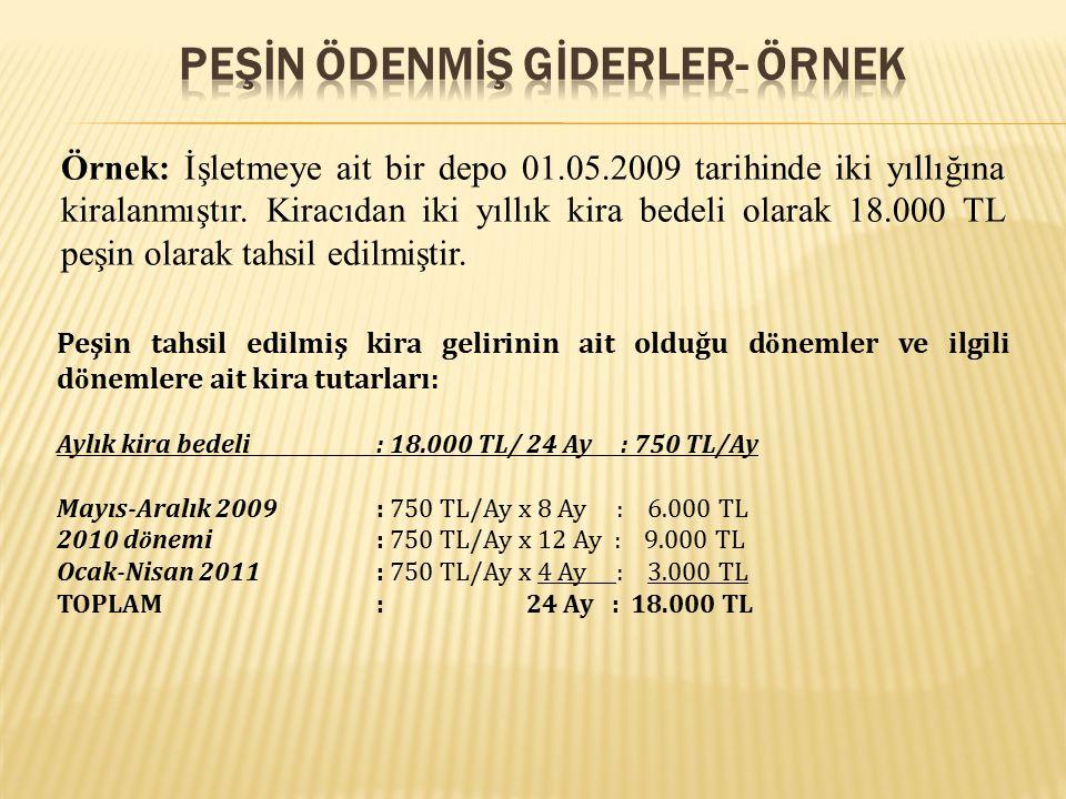 Örnek: İşletmeye ait bir depo 01.05.2009 tarihinde iki yıllığına kiralanmıştır. Kiracıdan iki yıllık kira bedeli olarak 18.000 TL peşin olarak tahsil