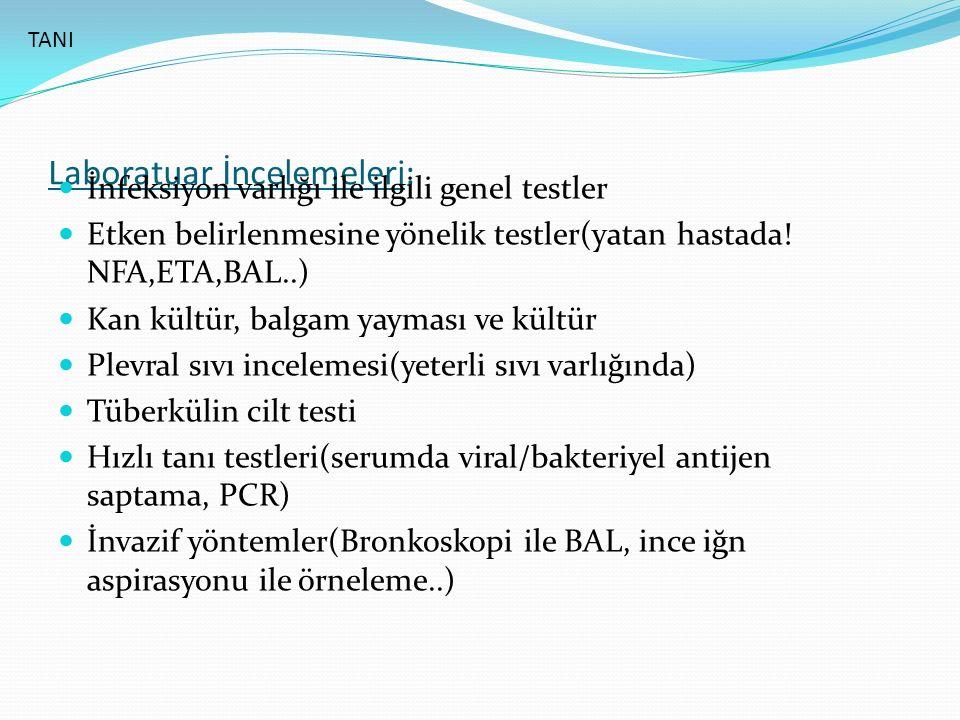 Laboratuar İncelemeleri: İnfeksiyon varlığı ile ilgili genel testler Etken belirlenmesine yönelik testler(yatan hastada.