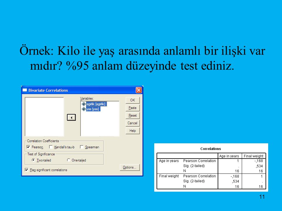 Örnek: Kilo ile yaş arasında anlamlı bir ilişki var mıdır? %95 anlam düzeyinde test ediniz. 11