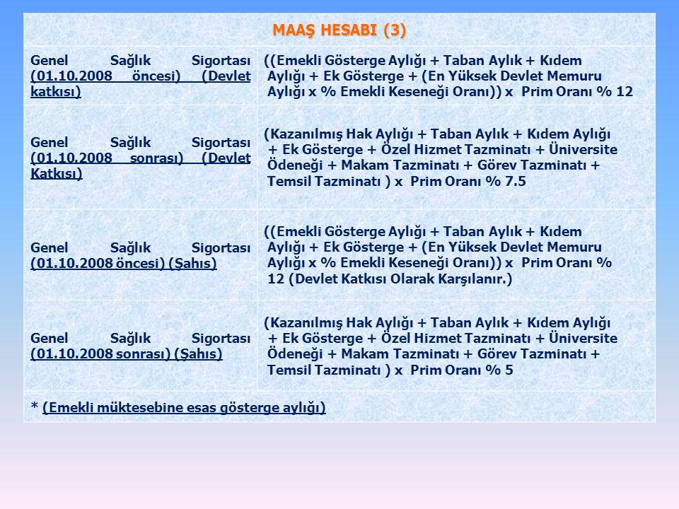 MAAŞ HESABI (3) Genel Sağlık Sigortası (01.10.2008 öncesi) (Devlet katkısı) ((Emekli Gösterge Aylığı + Taban Aylık + Kıdem Aylığı + Ek Gösterge + (En