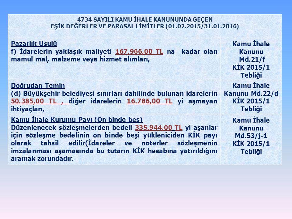 4734 SAYILI KAMU İHALE KANUNUNDA GEÇEN EŞİK DEĞERLER VE PARASAL LİMİTLER (01.02.2015/31.01.2016) Pazarlık Usulü f) İdarelerin yaklaşık maliyeti 167.96