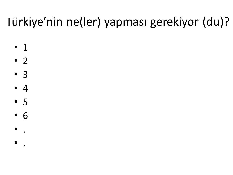 Türkiye'nin ne(ler) yapması gerekiyor (du)? 1 2 3 4 5 6.