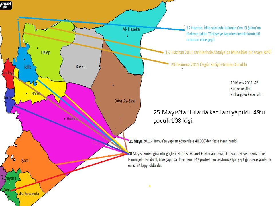 25 Mayıs'ta Hula'da katliam yapıldı. 49'u çocuk 108 kişi.