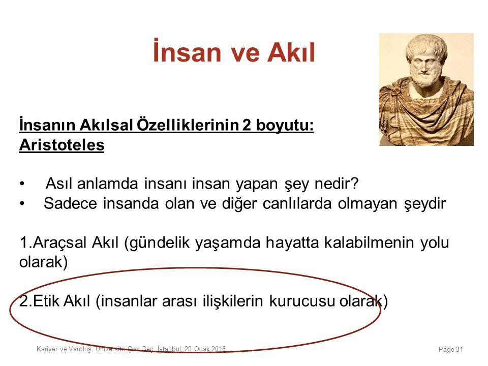 İnsan ve Akıl İnsanın Akılsal Özelliklerinin 2 boyutu: Aristoteles Asıl anlamda insanı insan yapan şey nedir? Sadece insanda olan ve diğer canlılarda