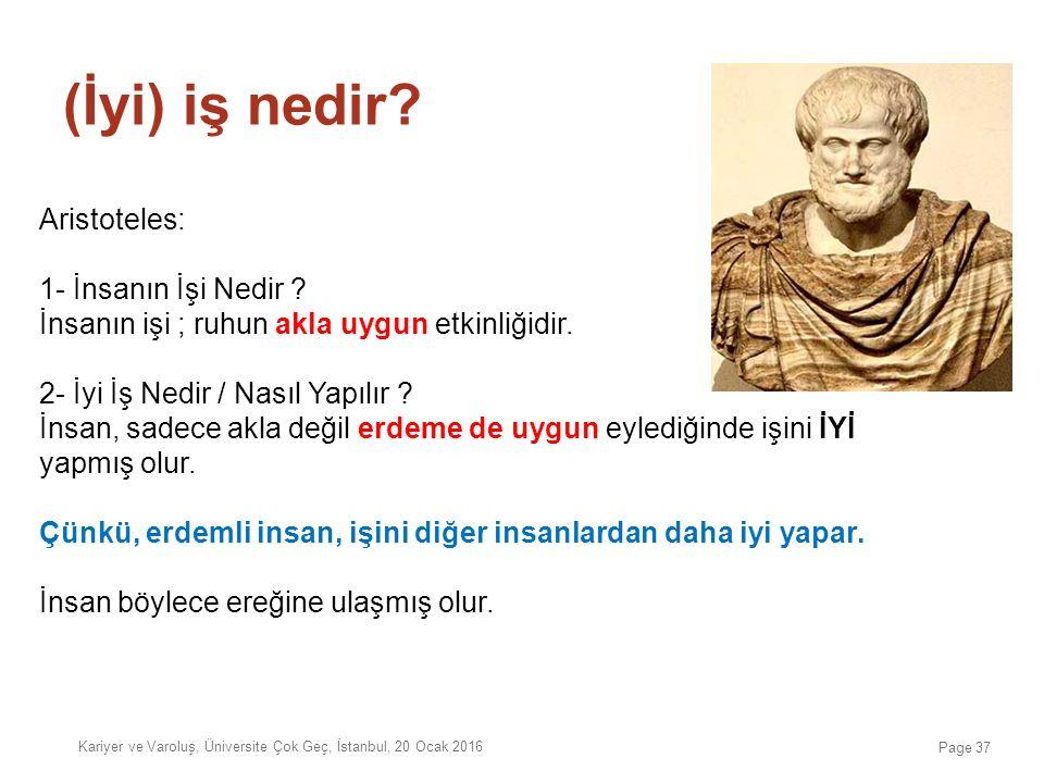 Aristoteles: 1- İnsanın İşi Nedir ? İnsanın işi ; ruhun akla uygun etkinliğidir. 2- İyi İş Nedir / Nasıl Yapılır ? İnsan, sadece akla değil erdeme de