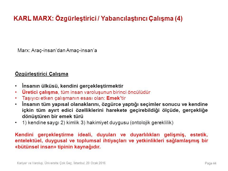 KARL MARX: Özgürleştirici / Yabancılaştırıcı Çalışma (4) Özgürleştirici Çalışma İnsanın ülküsü, kendini gerçekleştirmektir Üretici çalışma, tüm insan