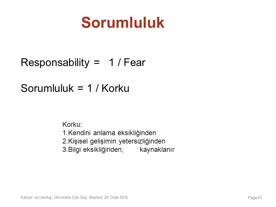 Sorumluluk Responsability = 1 / Fear Sorumluluk = 1 / Korku Kariyer ve Varoluş, Üniversite Çok Geç, İstanbul, 20 Ocak 2016 Page 61 Korku: 1.Kendini an