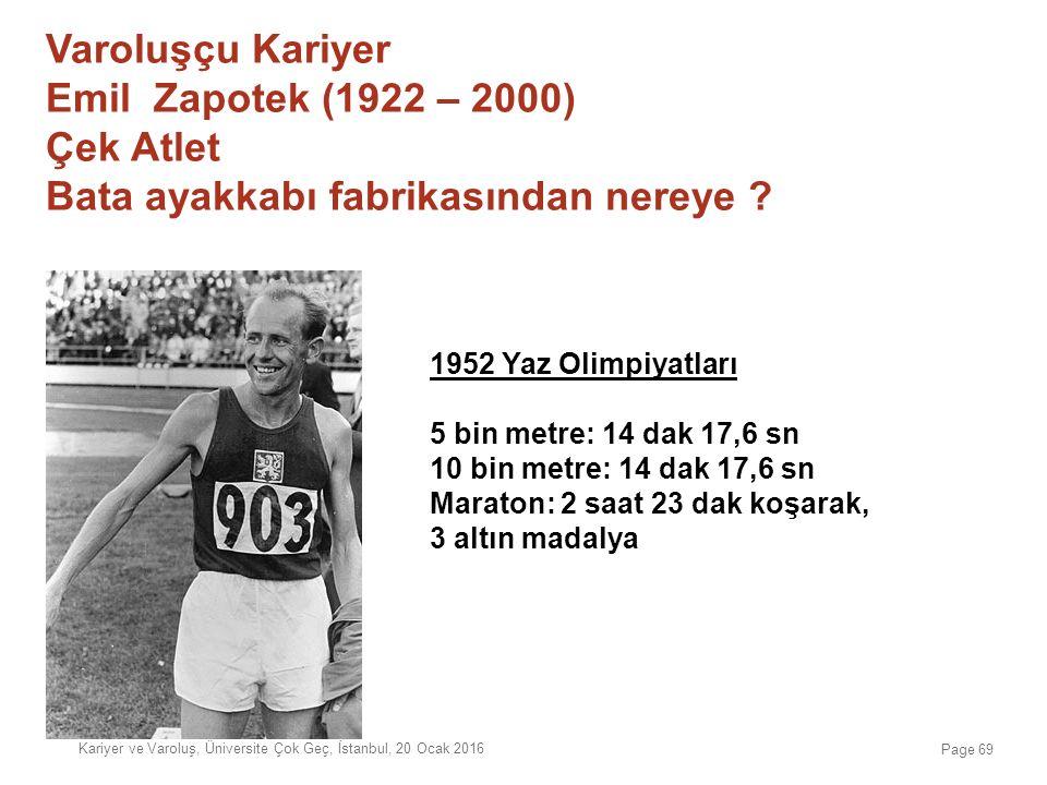 Varoluşçu Kariyer Emil Zapotek (1922 – 2000) Çek Atlet Bata ayakkabı fabrikasından nereye ? 1952 Yaz Olimpiyatları 5 bin metre: 14 dak 17,6 sn 10 bin