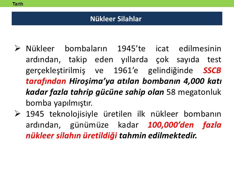 Nükleer Silahlar Tarih tanmlayabilecek  Nükleer bombaların 1945'te icat edilmesinin ardından, takip eden yıllarda çok sayıda test gerçekleştirilmiş v
