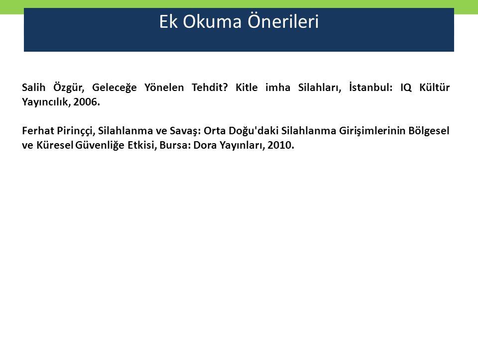 Ek Okuma Önerileri Salih Özgür, Geleceğe Yönelen Tehdit? Kitle imha Silahları, İstanbul: IQ Kültür Yayıncılık, 2006. Ferhat Pirinççi, Silahlanma ve Sa