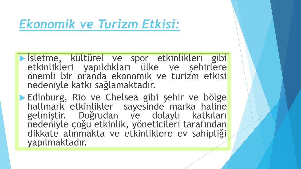 Ekonomik ve Turizm Etkisi:  İşletme, kültürel ve spor etkinlikleri gibi etkinlikleri yapıldıkları ülke ve şehirlere önemli bir oranda ekonomik ve tur