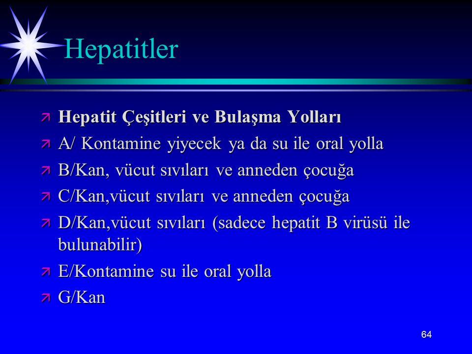 64 Hepatitler ä Hepatit Çeşitleri ve Bulaşma Yolları ä A/ Kontamine yiyecek ya da su ile oral yolla ä B/Kan, vücut sıvıları ve anneden çocuğa ä C/Kan,