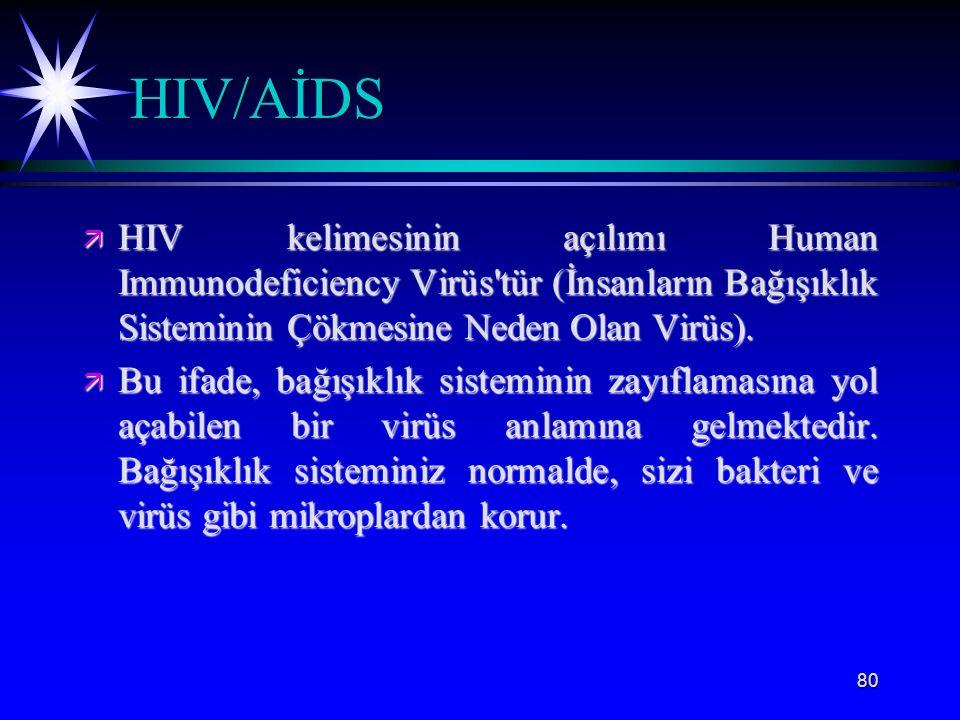 80 HIV/AİDS ä HIV kelimesinin açılımı Human Immunodeficiency Virüs'tür (İnsanların Bağışıklık Sisteminin Çökmesine Neden Olan Virüs). ä Bu ifade, bağı