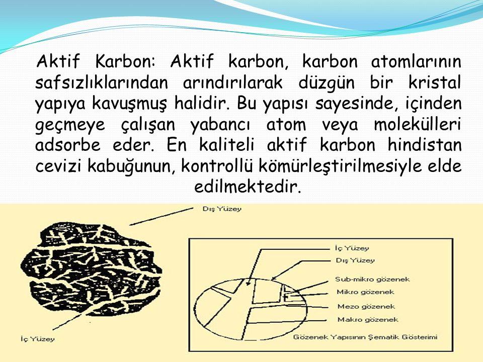 Aktif Karbon: Aktif karbon, karbon atomlarının safsızlıklarından arındırılarak düzgün bir kristal yapıya kavuşmuş halidir. Bu yapısı sayesinde, içinde