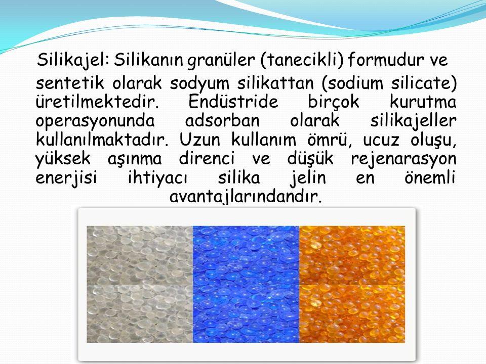 Silikajel: Silikanın granüler (tanecikli) formudur ve sentetik olarak sodyum silikattan (sodium silicate) üretilmektedir. Endüstride birçok kurutma op