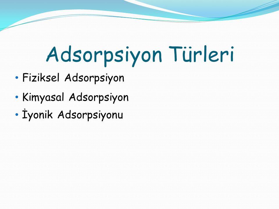 Adsorpsiyon Türleri Fiziksel Adsorpsiyon Kimyasal Adsorpsiyon İyonik Adsorpsiyonu